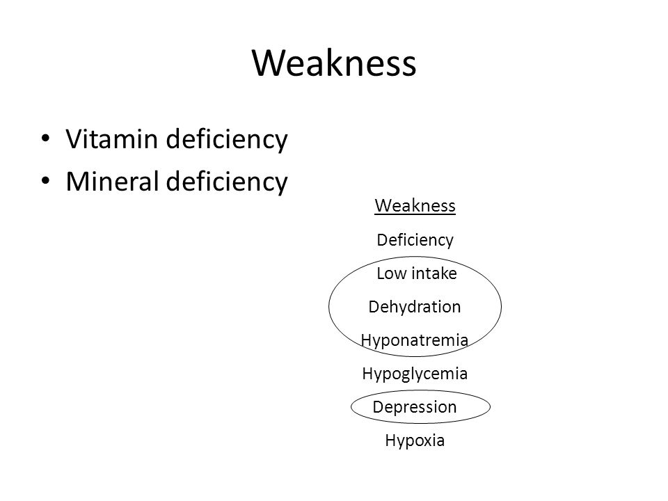 Weakness Vitamin deficiency Mineral deficiency Weakness Deficiency Low intake Dehydration Hyponatremia Hypoglycemia Depression Hypoxia