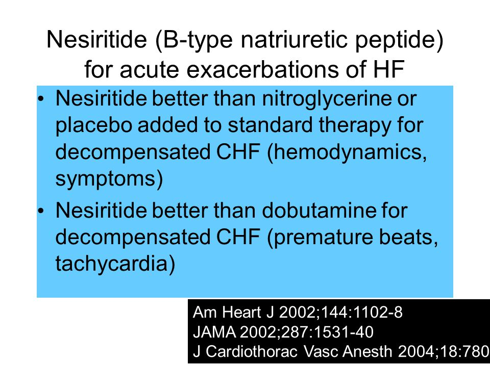 Nesiritide (B-type natriuretic peptide) for acute exacerbations of HF Nesiritide better than nitroglycerine or placebo added to standard therapy for decompensated CHF (hemodynamics, symptoms) Nesiritide better than dobutamine for decompensated CHF (premature beats, tachycardia) Am Heart J 2002;144:1102-8 JAMA 2002;287:1531-40 J Cardiothorac Vasc Anesth 2004;18:780-7