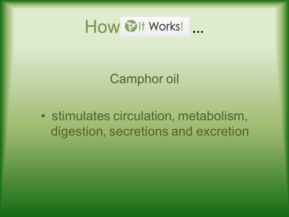 How … Camphor oil stimulates circulation, metabolism, digestion, secretions and excretion