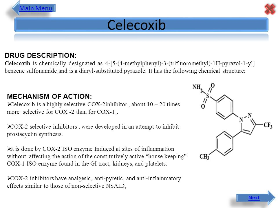 DRUG DESCRIPTION: Celecoxib is chemically designated as 4-[5-(4-methylphenyl)-3-(trifluoromethyl)-1H-pyrazol-1-yl] benzene sulfonamide and is a diaryl-substituted pyrazole.