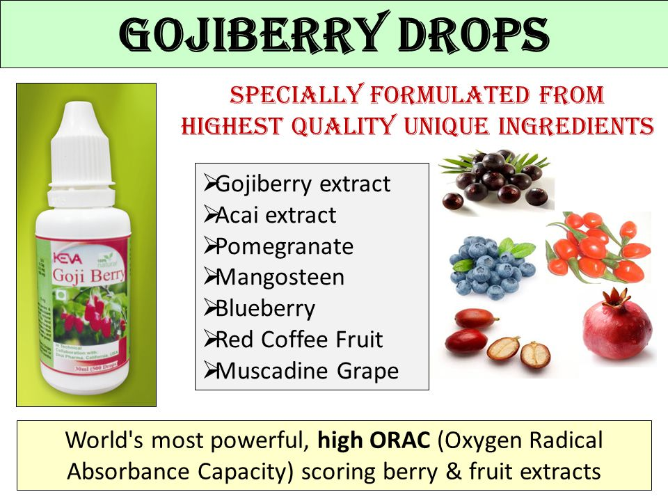 Specially formulated from highest quality unique ingredients Gojiberry Drops  Gojiberry extract  Acai extract  Pomegranate  Mangosteen  Blueberry