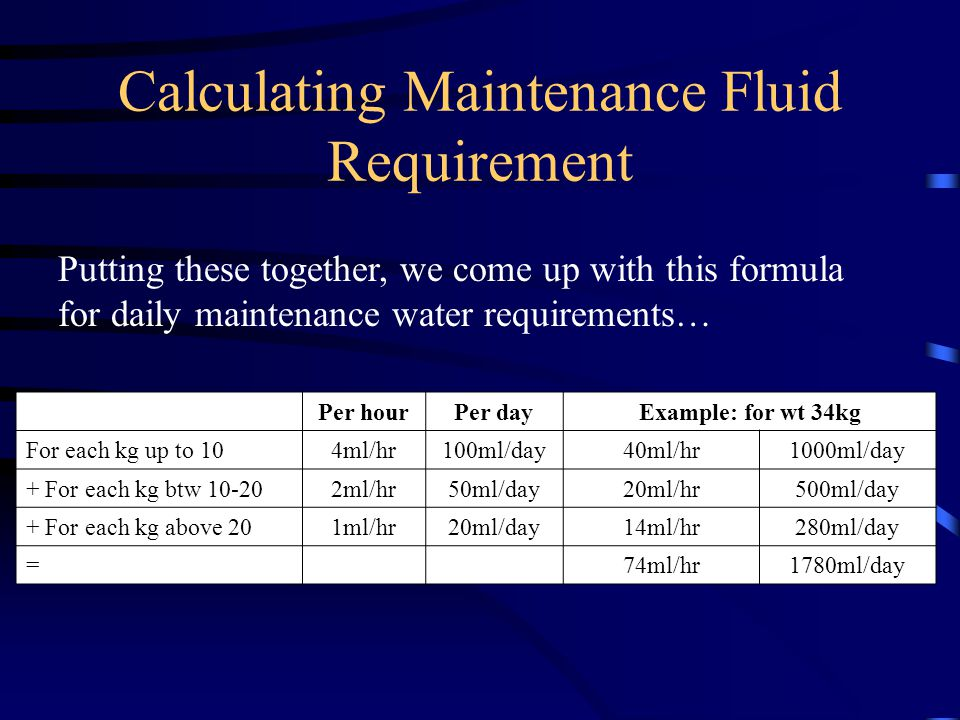Calculating Maintenance Fluid Requirement Per hourPer dayExample: for wt 34kg For each kg up to 104ml/hr100ml/day40ml/hr1000ml/day + For each kg btw 1