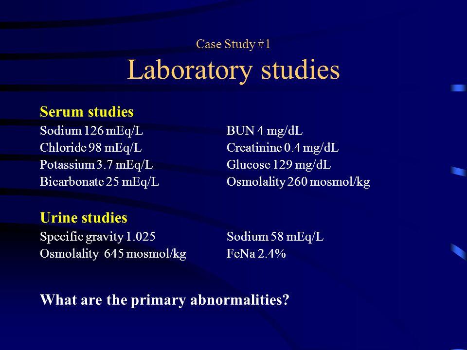 Case Study #1 Laboratory studies Serum studies Sodium 126 mEq/LBUN 4 mg/dL Chloride 98 mEq/LCreatinine 0.4 mg/dL Potassium 3.7 mEq/LGlucose 129 mg/dL
