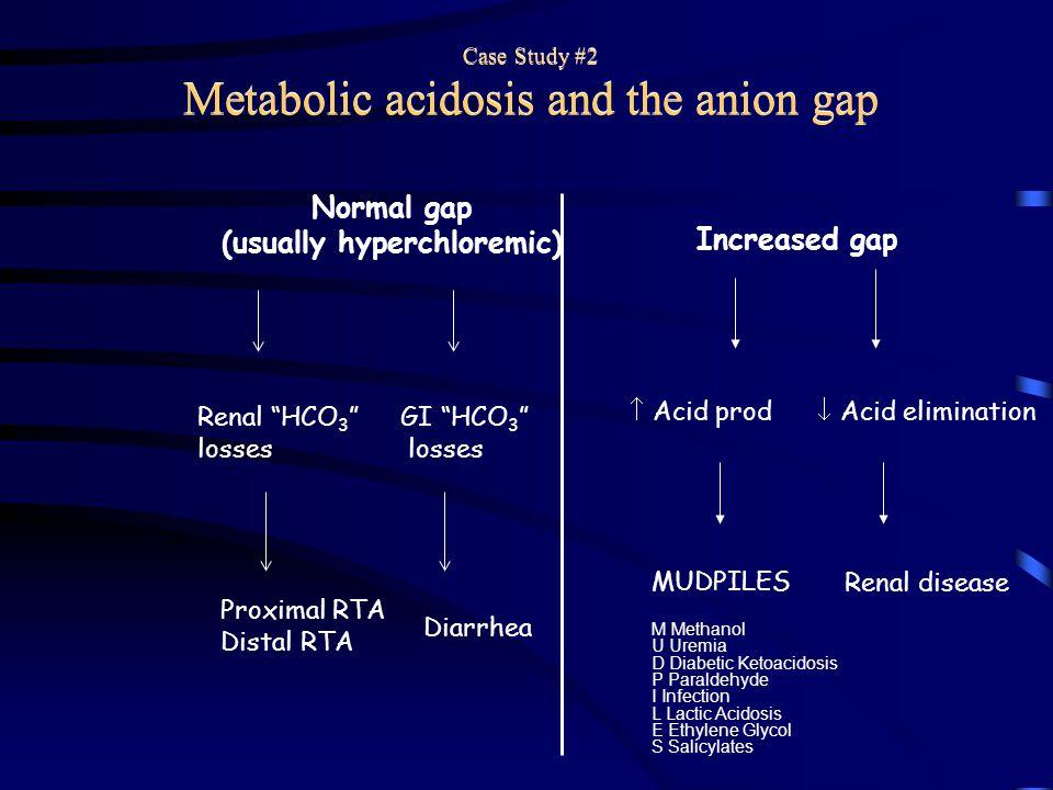 "Normal gap (usually hyperchloremic) Increased gap Renal ""HCO 3 "" losses GI ""HCO 3 "" losses Proximal RTA Distal RTA Diarrhea  Acid prod  Acid elimina"