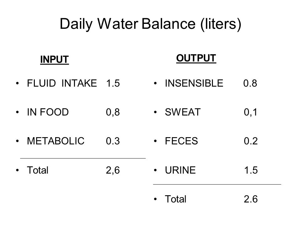 Daily Water Balance (liters) FLUID INTAKE 1.5 IN FOOD0,8 METABOLIC 0.3 Total2,6 INSENSIBLE 0.8 SWEAT 0,1 FECES 0.2 URINE 1.5 Total2.6 INPUT OUTPUT