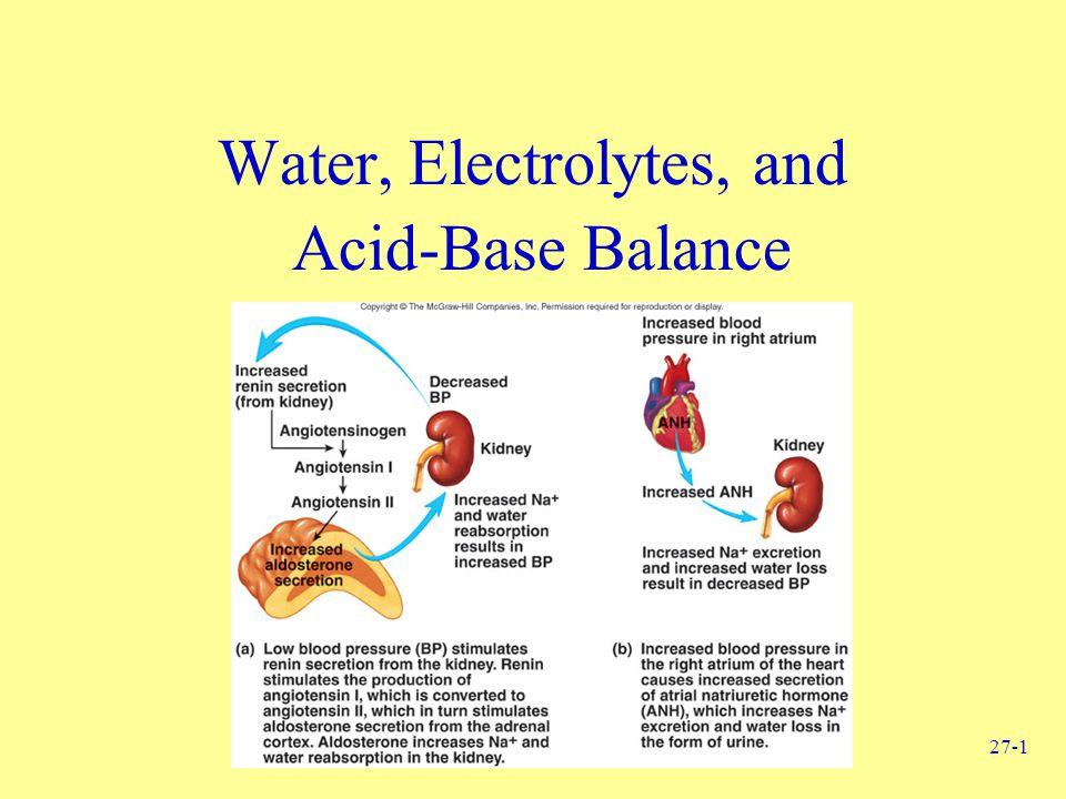 27-1 Water, Electrolytes, and Acid-Base Balance