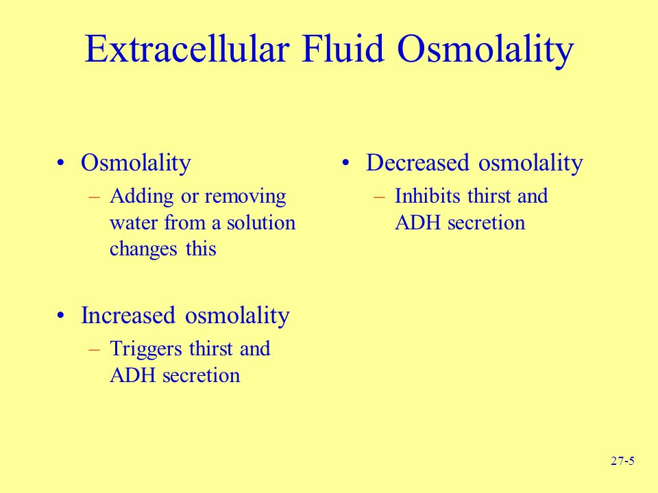 27-5 Extracellular Fluid Osmolality Osmolality –Adding or removing water from a solution changes this Increased osmolality –Triggers thirst and ADH se