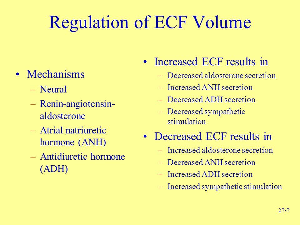 27-7 Regulation of ECF Volume Mechanisms –Neural –Renin-angiotensin- aldosterone –Atrial natriuretic hormone (ANH) –Antidiuretic hormone (ADH) Increased ECF results in –Decreased aldosterone secretion –Increased ANH secretion –Decreased ADH secretion –Decreased sympathetic stimulation Decreased ECF results in –Increased aldosterone secretion –Decreased ANH secretion –Increased ADH secretion –Increased sympathetic stimulation