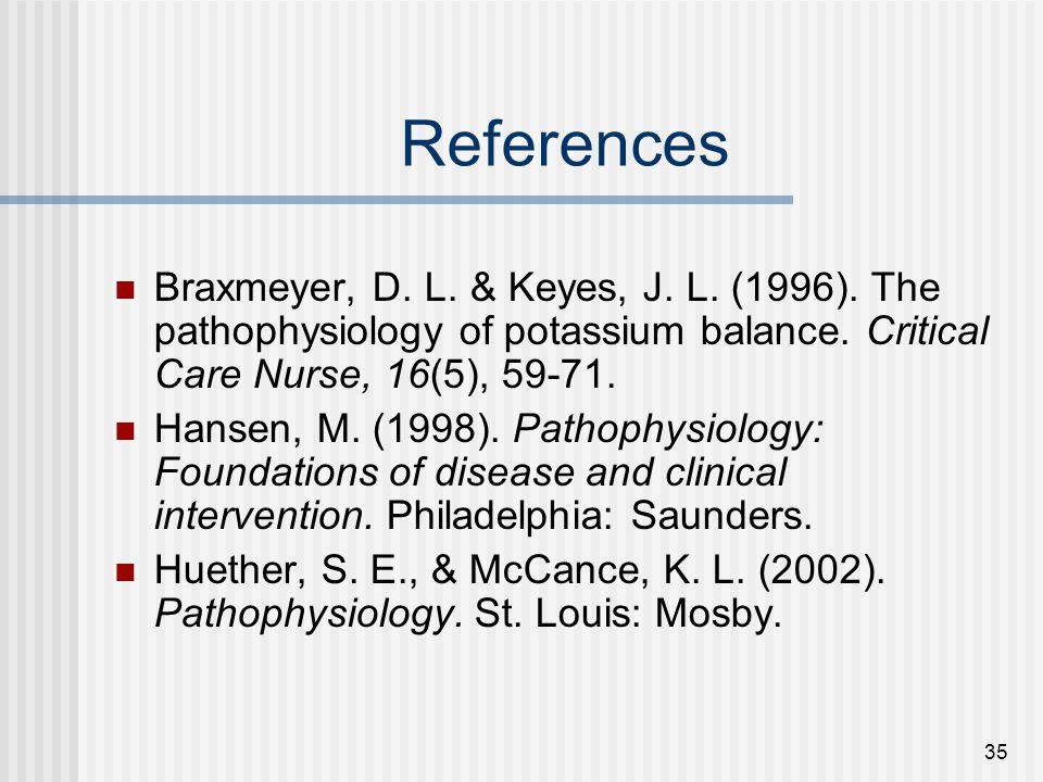 35 References Braxmeyer, D.L. & Keyes, J. L. (1996).