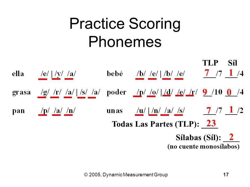 © 2005, Dynamic Measurement Group17 Practice Scoring Phonemes TLPSílSíl Todas Las Partes (TLP): ____ Sílabas (Síl): ____ (no cuente monosílabos) 7 7 1 1 9 0 23 2