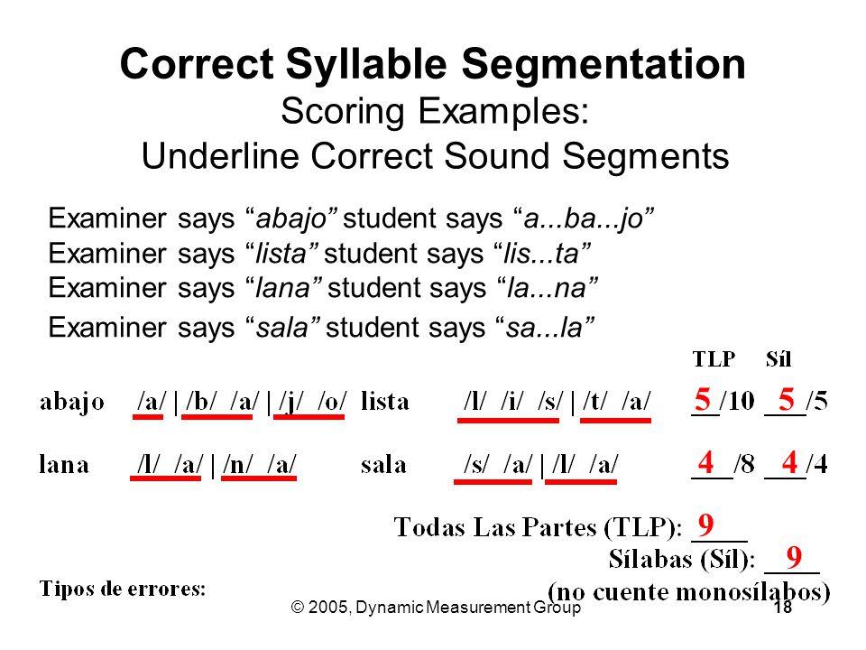 © 2005, Dynamic Measurement Group18 Examiner says abajo student says a...ba...jo Examiner says lista student says lis...ta Examiner says lana student says la...na Examiner says sala student says sa...la Correct Syllable Segmentation Scoring Examples: Underline Correct Sound Segments 9 5 9 4