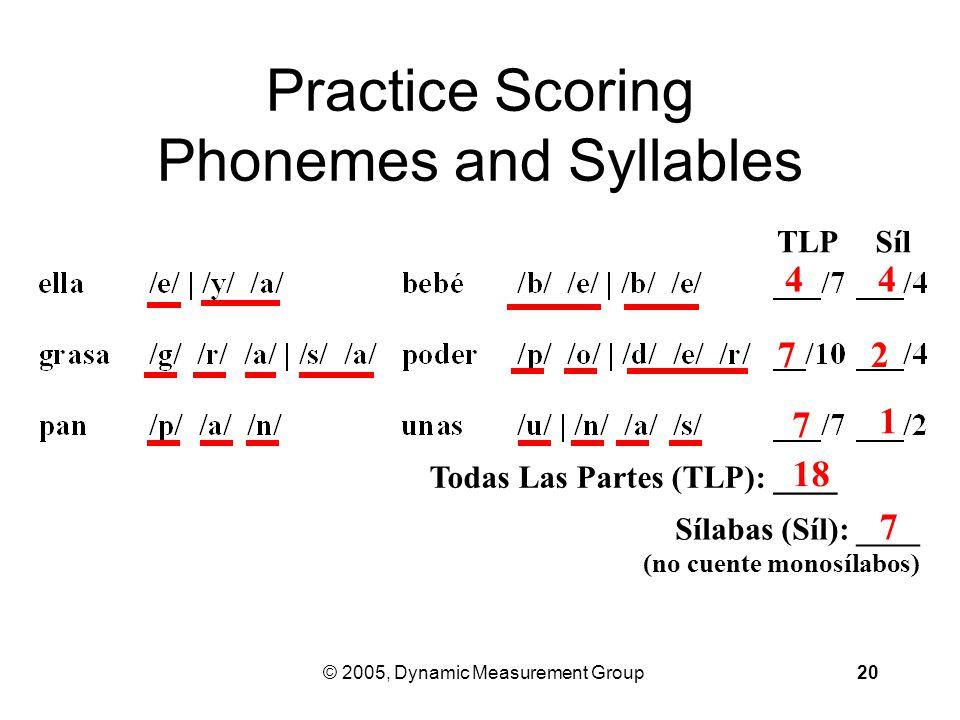 © 2005, Dynamic Measurement Group20 Practice Scoring Phonemes and Syllables TLPSílSíl Todas Las Partes (TLP): ____ Sílabas (Síl): ____ (no cuente monosílabos) 7 4 1 7 2 18 7