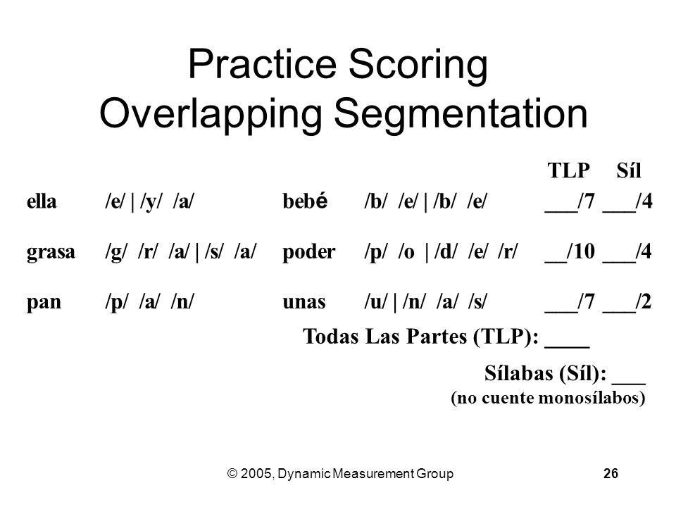 © 2005, Dynamic Measurement Group26 Practice Scoring Overlapping Segmentation ella /e/ | /y/ /a/ be bébé /b/ /e/ | /b/ /e/ ___/7 ___/4 grasa /g/ /r/ /a/ | /s/ /a/ poder /p/ /o | /d/ /e/ /r/ __/10 ___/4 pan /p/ /a/ /n/ unas /u/ | /n/ /a/ /s/ ___/7 ___/2 TLPSílSíl Todas Las Partes (TLP): ____ Sílabas (Síl): ___ (no cuente monosílabos)