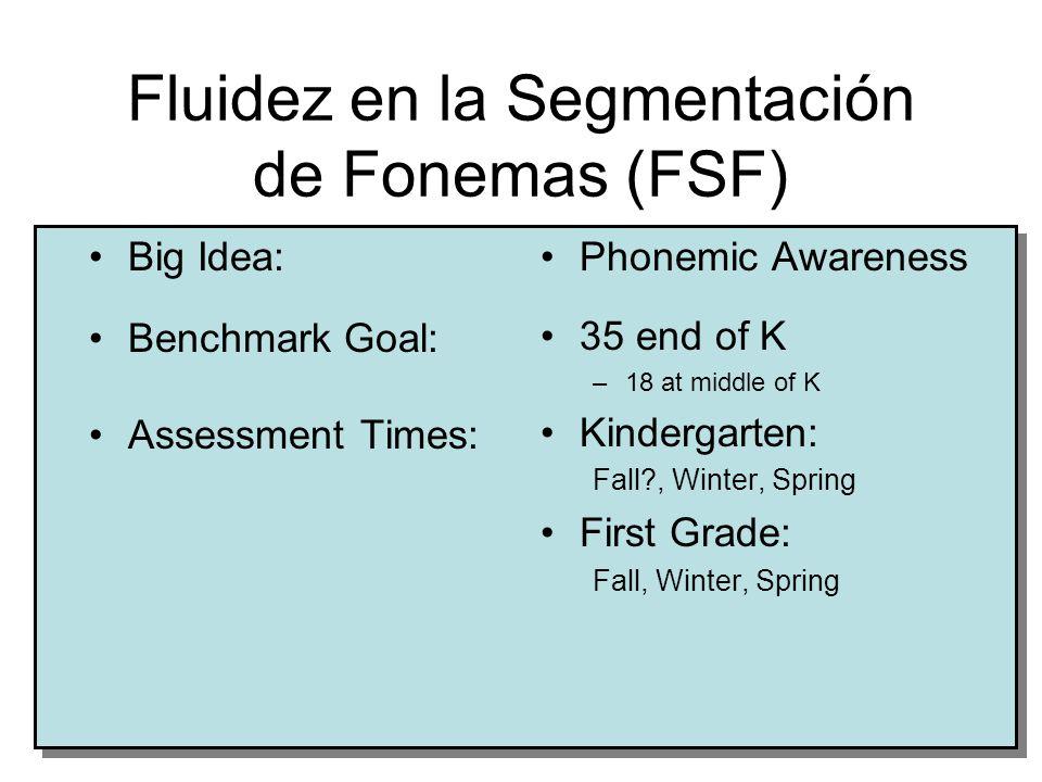 © 2005, Dynamic Measurement Group3 Fluidez en la Segmentación de Fonemas (FSF) Big Idea: Benchmark Goal: Assessment Times: Phonemic Awareness 35 end of K –18 at middle of K Kindergarten: Fall , Winter, Spring First Grade: Fall, Winter, Spring