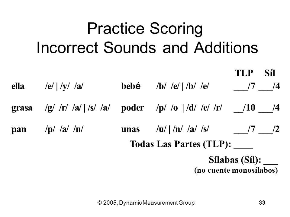 © 2005, Dynamic Measurement Group33 Practice Scoring Incorrect Sounds and Additions ella /e/ | /y/ /a/ be bébé /b/ /e/ | /b/ /e/ ___/7 ___/4 grasa /g/ /r/ /a/ | /s/ /a/ poder /p/ /o | /d/ /e/ /r/ __/10 ___/4 pan /p/ /a/ /n/ unas /u/ | /n/ /a/ /s/ ___/7 ___/2 TLPSílSíl Todas Las Partes (TLP): ____ Sílabas (Síl): ___ (no cuente monosílabos)