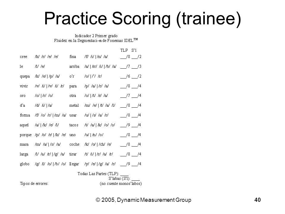 © 2005, Dynamic Measurement Group40 Practice Scoring (trainee)