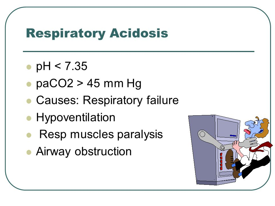Respiratory Acidosis pH < 7.35 paCO2 > 45 mm Hg Causes: Respiratory failure Hypoventilation Resp muscles paralysis Airway obstruction