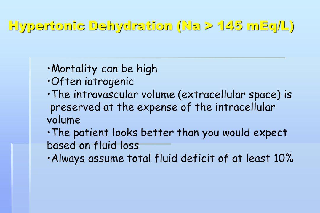 H2O Na K (ml) (mEq) (mEq) Maintenance (Holiday/Segar) Total deficit = 1000 ml Extracellular fluid deficit (50% of total) Intracellular fluid deficit (50% of total) Total 1000 30 20 500 70 500 75 2000 100 95 Isotonic Dehydration