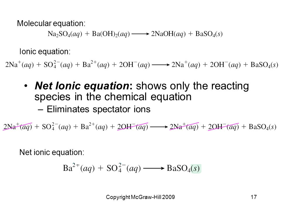 Copyright McGraw-Hill 200917 Net Ionic equation: shows only the reacting species in the chemical equation –Eliminates spectator ions Molecular equatio