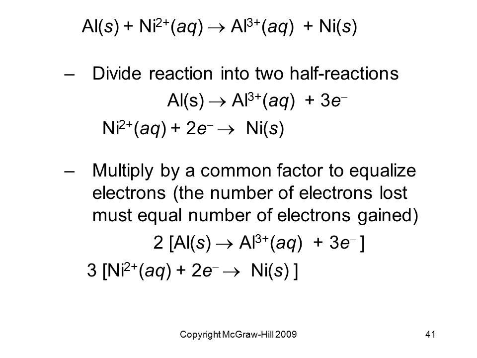 Copyright McGraw-Hill 200941 Al(s) + Ni 2+ (aq)  Al 3+ (aq) + Ni(s) –Divide reaction into two half-reactions Al(s)  Al 3+ (aq) + 3e  Ni 2+ (aq) + 2e   Ni(s) –Multiply by a common factor to equalize electrons (the number of electrons lost must equal number of electrons gained) 2 [Al(s)  Al 3+ (aq) + 3e  ] 3 [Ni 2+ (aq) + 2e   Ni(s) ]
