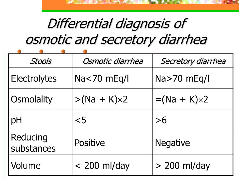 Differential diagnosis of osmotic and secretory diarrhea Stools Osmotic diarrhea Secretory diarrhea ElectrolytesNa<70 mEq/lNa>70 mEq/l Osmolality >(Na