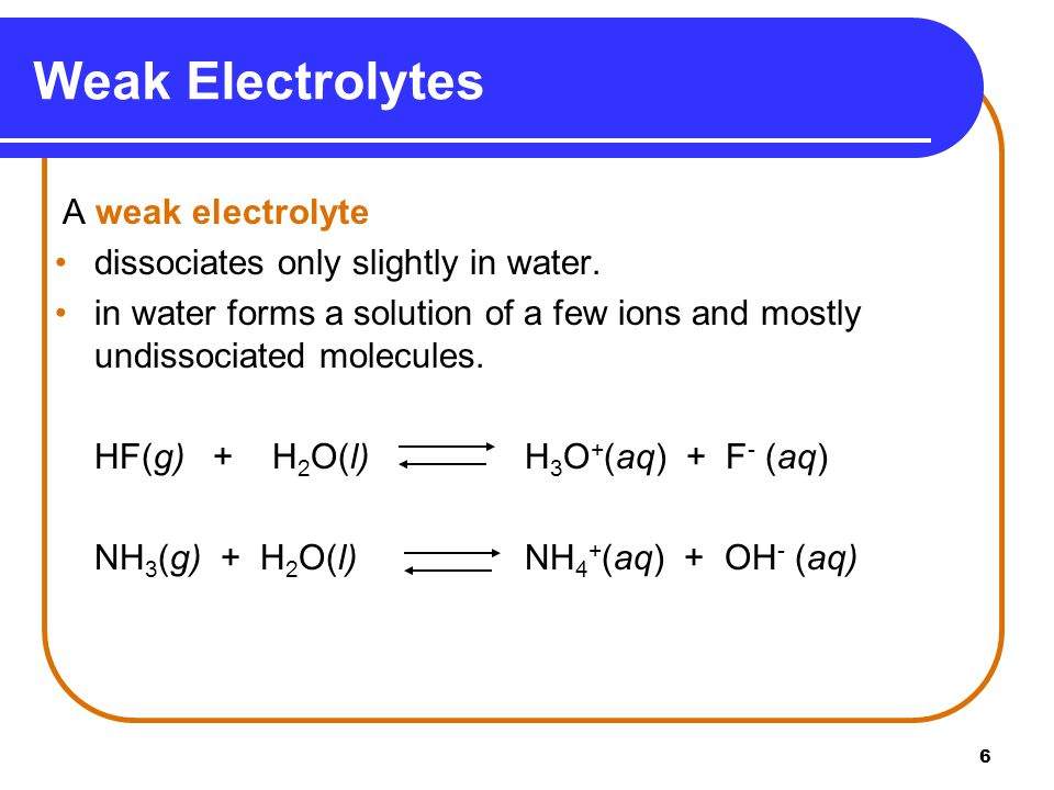 7 Nonelectrolytes dissolve as molecules in water.do not produce ions in water.