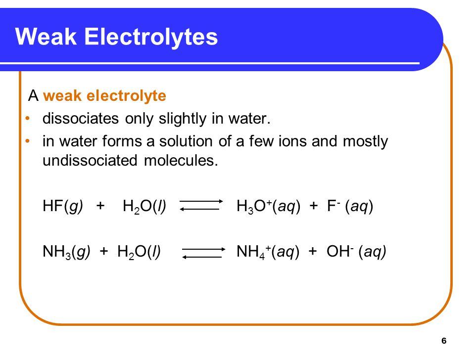 6 A weak electrolyte dissociates only slightly in water.