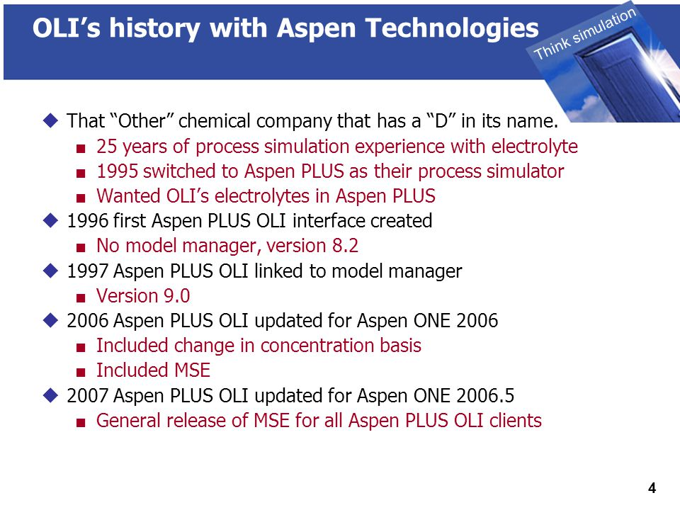THINK SIMULATION Think simulation 5 Advantages of Aspen PLUS OLI  User Interface  Learn one flow sheeting system  Multiple Property Options in same flowsheet  Different Non-electrolyte capability  Sizing  Costing  Two Software Venders