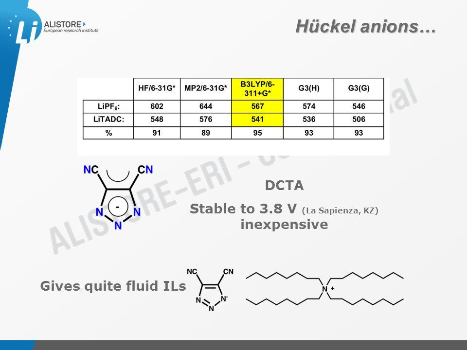 Présentation du 15 octobre 2009 Hückel anions… DCTA Stable to 3.8 V (La Sapienza, KZ) inexpensive Gives quite fluid ILs