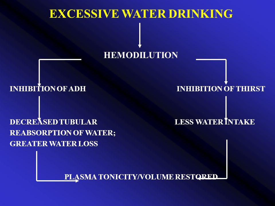 EXCESSIVE WATER DRINKING HEMODILUTION INHIBITION OF ADH INHIBITION OF THIRST DECREASED TUBULARLESS WATER INTAKE REABSORPTION OF WATER; GREATER WATER LOSS PLASMA TONICITY/VOLUME RESTORED