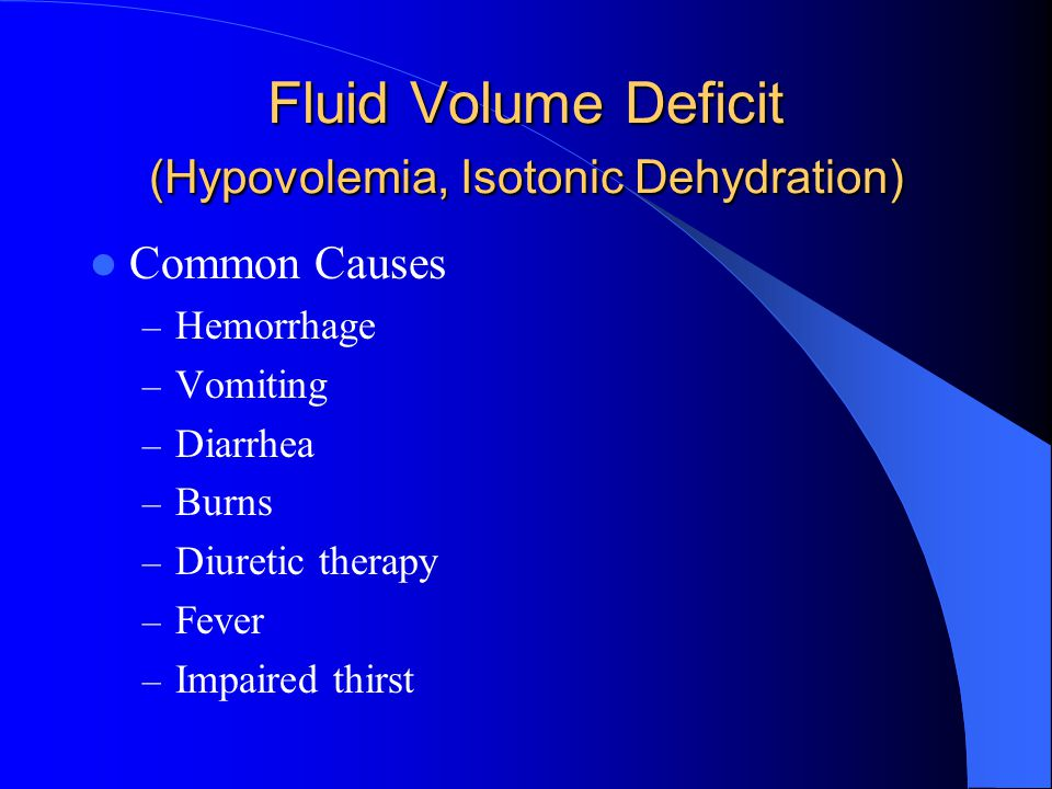 Hyponatremia (<135mEq/L) Interventions/Treatment – Restore Na levels to normal and prevent further decreases in Na.