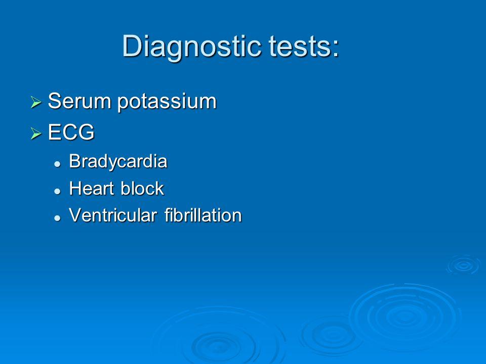 Diagnostic tests:  Serum potassium  ECG Bradycardia Bradycardia Heart block Heart block Ventricular fibrillation Ventricular fibrillation