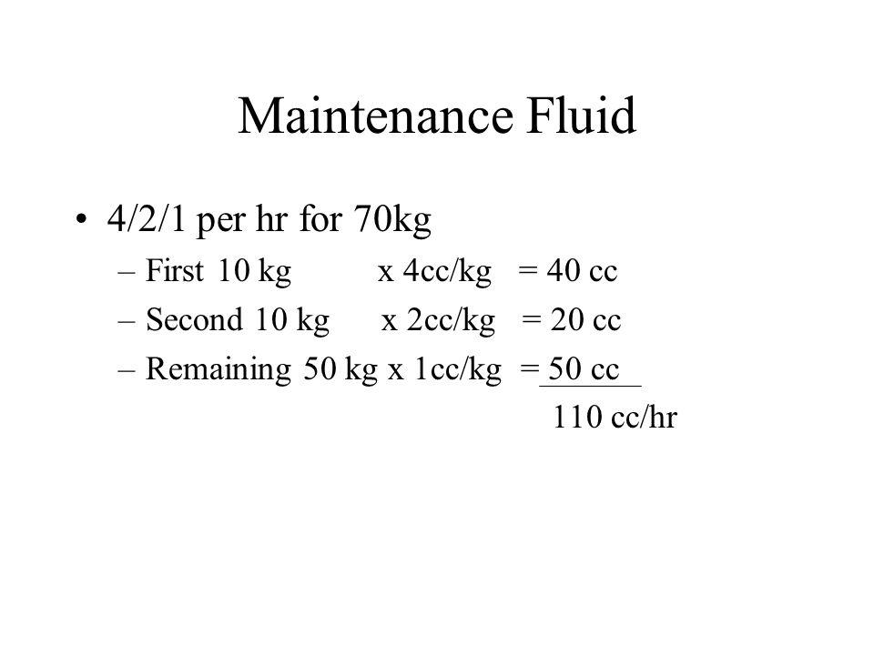 Maintenance Fluid 4/2/1 per hr for 70kg –First 10 kg x 4cc/kg = 40 cc –Second 10 kg x 2cc/kg = 20 cc –Remaining 50 kg x 1cc/kg = 50 cc 110 cc/hr