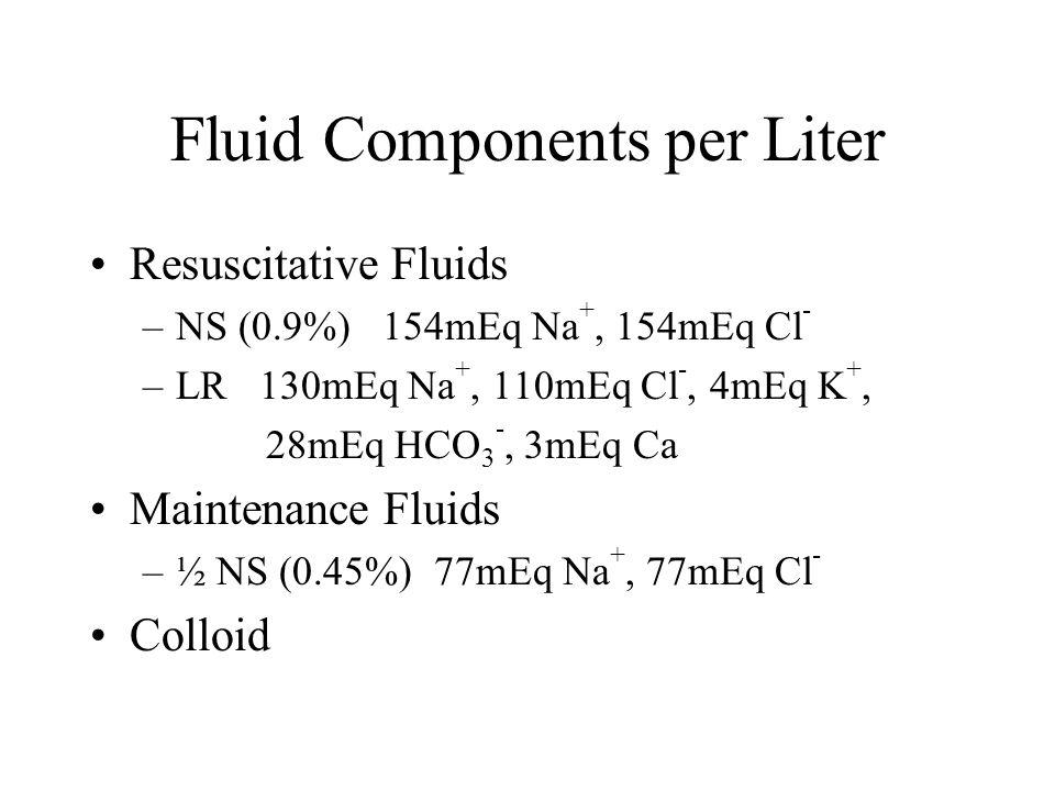 Fluid Components per Liter Resuscitative Fluids –NS (0.9%) 154mEq Na +, 154mEq Cl - –LR 130mEq Na +, 110mEq Cl -, 4mEq K +, 28mEq HCO 3 -, 3mEq Ca Maintenance Fluids –½ NS (0.45%) 77mEq Na +, 77mEq Cl - Colloid