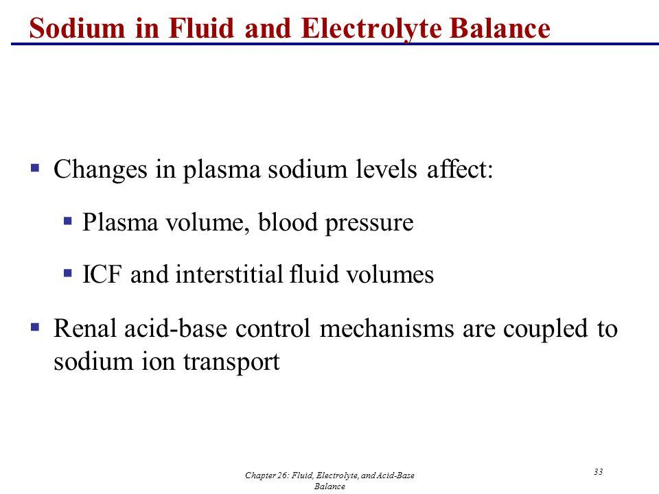 Chapter 26: Fluid, Electrolyte, and Acid-Base Balance 33 Sodium in Fluid and Electrolyte Balance  Changes in plasma sodium levels affect:  Plasma vo
