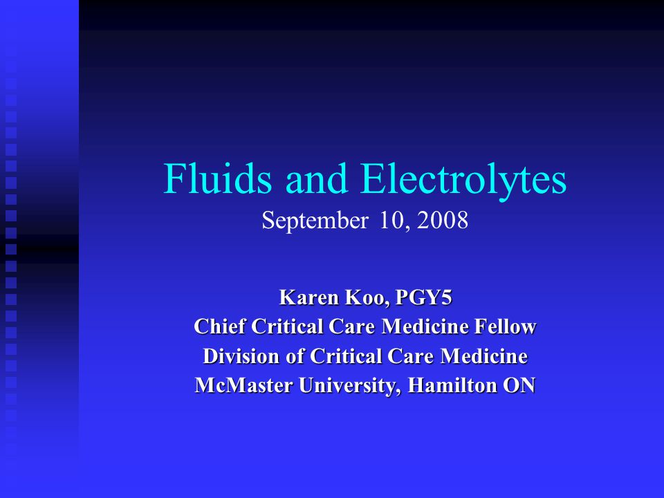 Objectives Major Body Fluid Compartments Major Body Fluid Compartments Review of physiology of volume regulation Review of physiology of volume regulation Parenteral Fluid Therapy Parenteral Fluid Therapy Cases of Electrolyte imbalances Cases of Electrolyte imbalances
