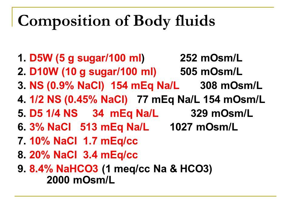 Composition of Body fluids 1. D5W (5 g sugar/100 ml) 252 mOsm/L 2. D10W (10 g sugar/100 ml) 505 mOsm/L 3. NS (0.9% NaCl) 154 mEq Na/L 308 mOsm/L 4. 1/