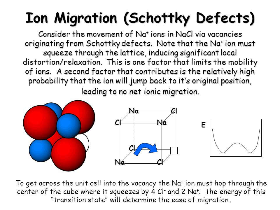 Chem 754 - Solid State Chemistry Ion Migration (Schottky Defects) Consider the movement of Na + ions in NaCl via vacancies originating from Schottky d