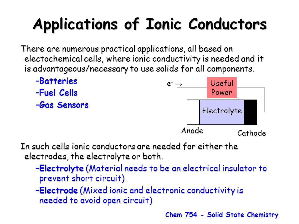 Chem 754 - Solid State Chemistry Applications of Ionic Conductors There are numerous practical applications, all based on electochemical cells, where