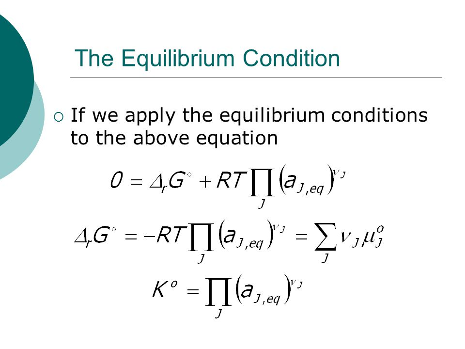 The Equilibrium Condition  If we apply the equilibrium conditions to the above equation