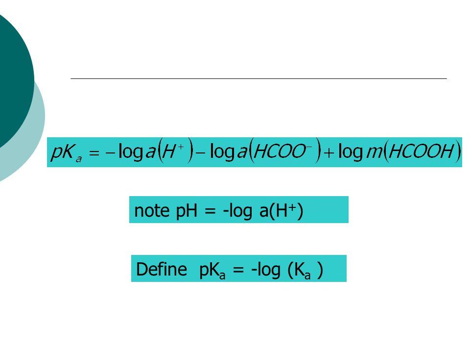 note pH = -log a(H + ) Define pK a = -log (K a )