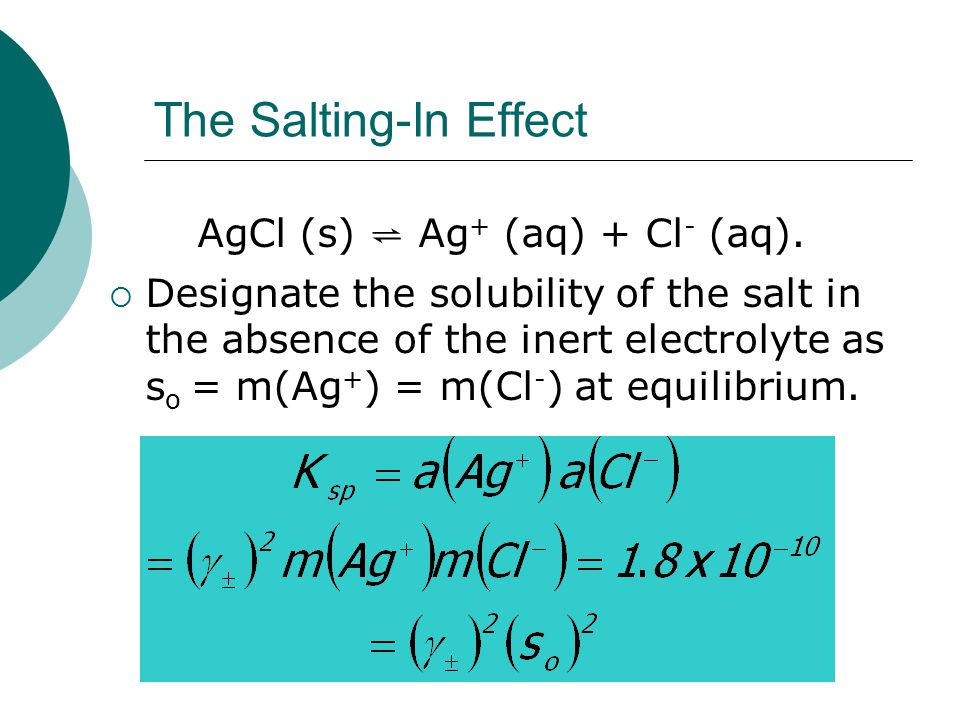 The Salting-In Effect AgCl (s) ⇌ Ag + (aq) + Cl - (aq).