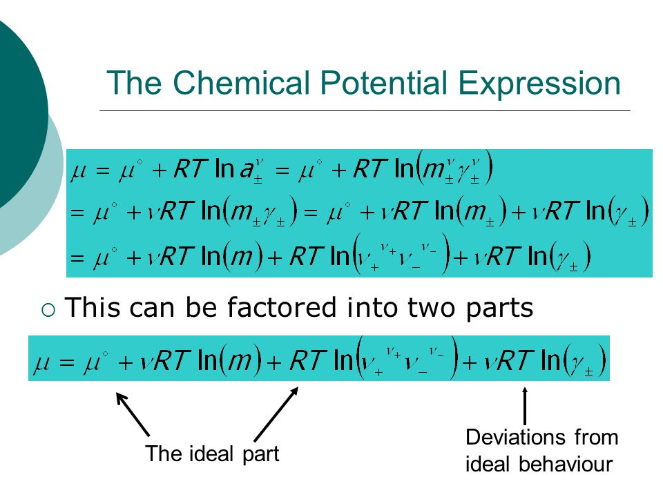The Chemical Potential Expression  This can be factored into two parts The ideal part Deviations from ideal behaviour