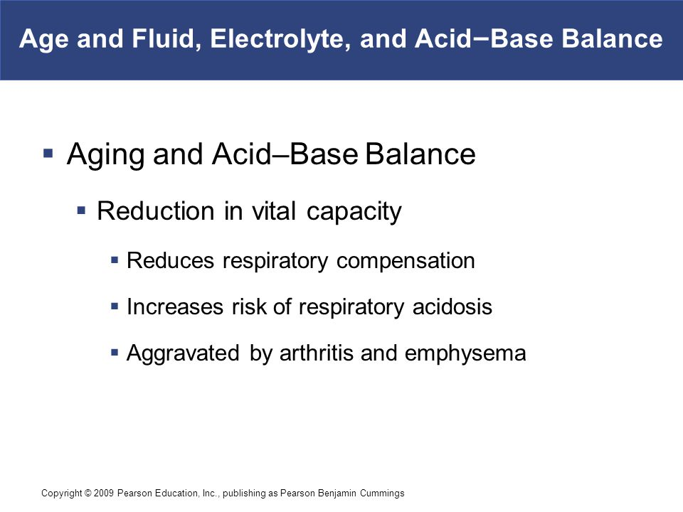 Copyright © 2009 Pearson Education, Inc., publishing as Pearson Benjamin Cummings Age and Fluid, Electrolyte, and Acid–Base Balance  Aging and Acid–B