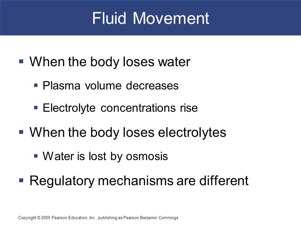 Copyright © 2009 Pearson Education, Inc., publishing as Pearson Benjamin Cummings Fluid Movement  When the body loses water  Plasma volume decreases