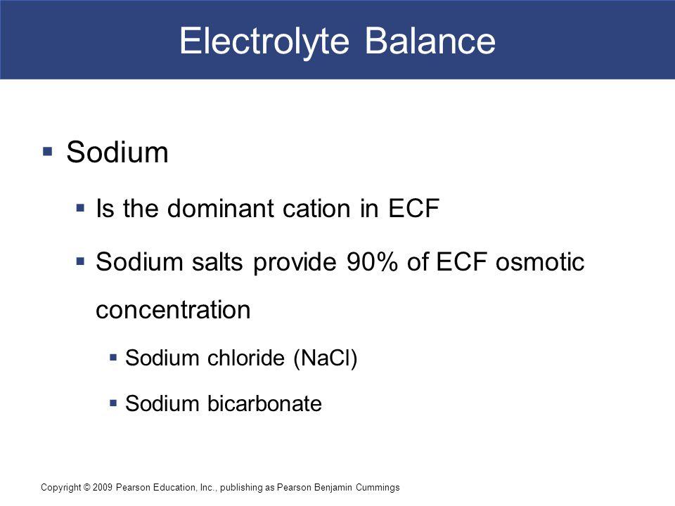 Copyright © 2009 Pearson Education, Inc., publishing as Pearson Benjamin Cummings Electrolyte Balance  Sodium  Is the dominant cation in ECF  Sodiu