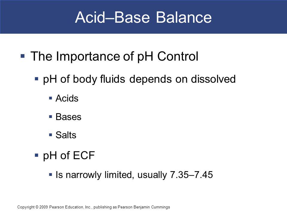 Copyright © 2009 Pearson Education, Inc., publishing as Pearson Benjamin Cummings Acid–Base Balance  The Importance of pH Control  pH of body fluids