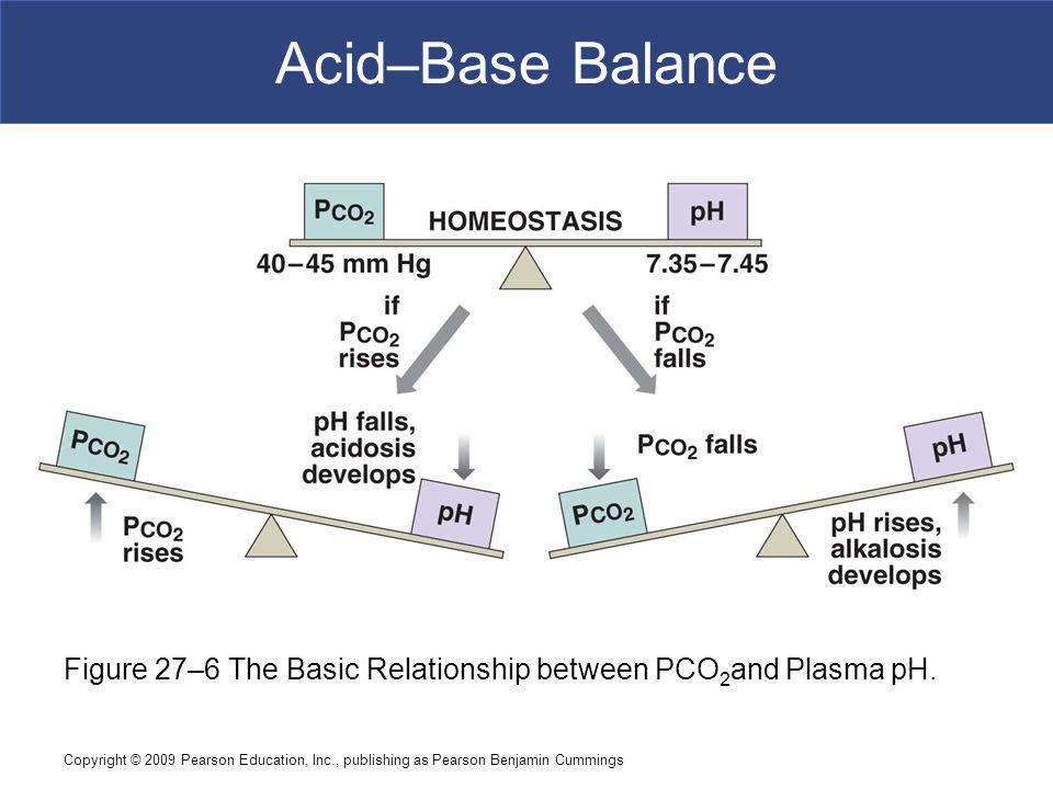Copyright © 2009 Pearson Education, Inc., publishing as Pearson Benjamin Cummings Acid–Base Balance Figure 27–6 The Basic Relationship between PCO 2 a