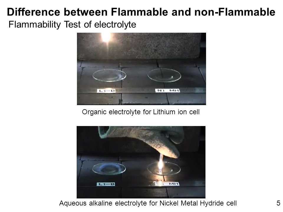Organic electrolyte for Lithium ion cell Aqueous alkaline electrolyte for Nickel Metal Hydride cell Flammability Test of electrolyte Difference between Flammable and non-Flammable 5