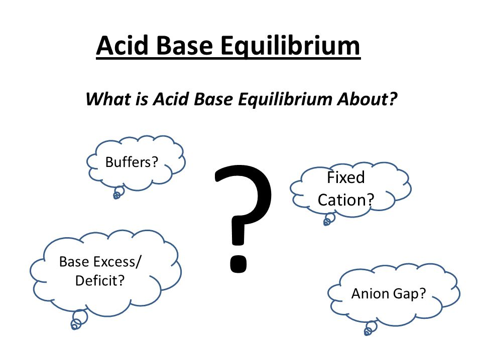 Acid Base Equilibrium What is Acid Base Equilibrium About? ? Buffers? Fixed Cation? Base Excess/ Deficit? Anion Gap?